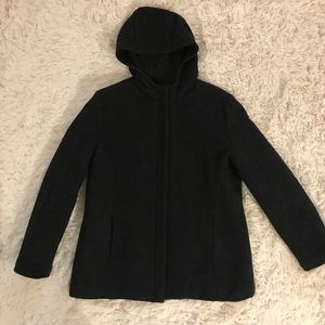 GAP charcoal gray/black hooded pea coat